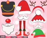 Christmas Props Party Booth clipart Santa Claus beard reindeer hat horns -7p