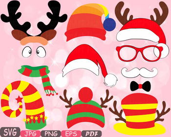 Christmas Props Party Booth clipart Santa Claus beard reindeer hat horns -8p