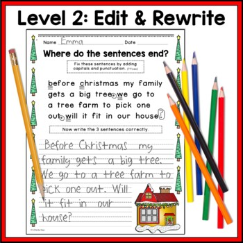 Christmas Writing, Punctuation, and Capitalization; Where do the sentences end?