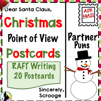 Christmas Puns Point of View Writing Activity Postcards
