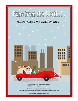 Christmas Printable  Puns from the North--Santa Takes the Pole Position