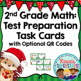 2nd Grade Math Christmas Themed Test Preparation Task Cards w/Optional QR Codes