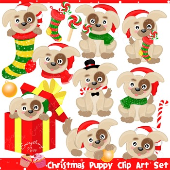 Christmas Puppy Puppies Clipart Set