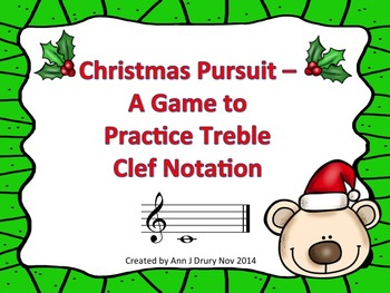 Christmas Pursuit - A Race Game to Practice Treble Clef Notation