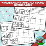 Winter Holiday / Christmas Drawing or Cut-Paste Picture Puzzles - FREEBIE