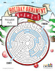 Christmas Puzzle Maze - Holiday Puzzles, Games - Ornament Maze - B&W Print Ready