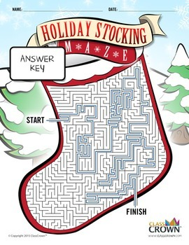 Christmas Maze - Stocking Maze - Holiday Puzzles, Games - B&W Print Ready