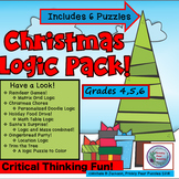 Christmas Puzzle Pack,  {48 HR FLASH DEAL} Logic Puzzles,  Brain Teasers, Gr 4-6