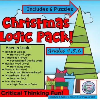 Christmas Puzzle Pack, Logic Puzzles,  Brain Teasers, Gr 4-6, Critical Thinking