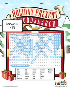 Christmas Word Search - Present Word Search - Puzzles, Games - B&W Print Ready