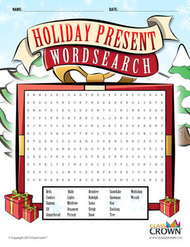 Christmas Puzzle Wordsearch - Holiday Puzzles, Games - B&W