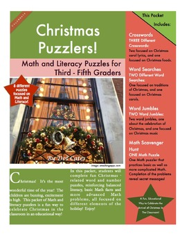 Christmas Puzzlers! 8 Math and Literacy Puzzles for 3rd - 5th Grade