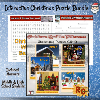 Image of Seasonal Products by R&C  Christmas Puzzles Bundle for Grade 6-10