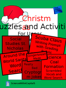 Christmas Puzzles and Activities for Upper Grades: Science, Social Studies, LA