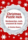 Christmas Puzzles pack - puzzle -  word search maze math crossword