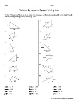 Christmas Pythagorean Theorem Find the Missing Side