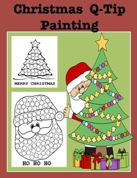 Christmas Q Tip Painting Teaching Resources Teachers Pay Teachers