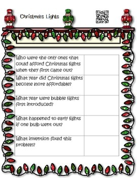 Christmas QR Code Fun Informational Passages with Leveled Graphic Organizers
