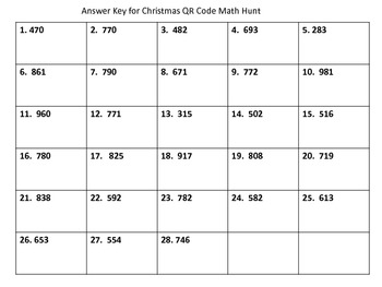 Christmas QR Code Math Hunt (using 3-digit addition with regrouping)