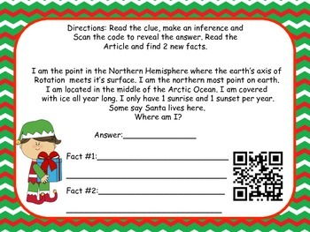Christmas QR code Inferencing 3-5 (Common Core Aligned)