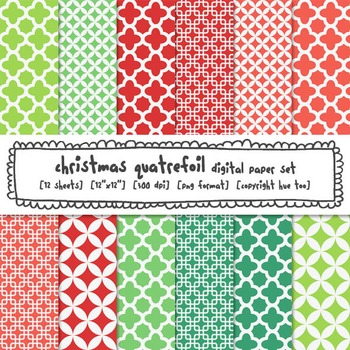Christmas Quatrefoil Digital Paper Set, Red and Green Quatrefoil Backgrounds