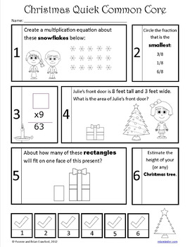 Christmas No Prep Common Core Math (3rd grade)