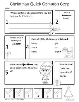Christmas No Prep Common Core Literacy (1st grade)