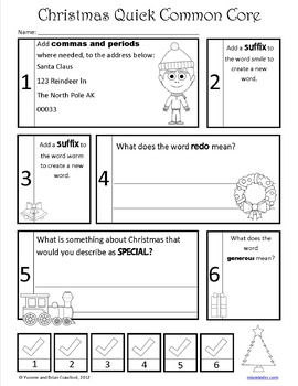 Christmas No Prep Common Core Literacy (3rd grade)