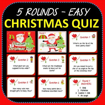 Christmas Quiz Powerpoint with Answers - 5 Rounds - Easy Elementary Level Fun!
