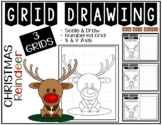 Christmas REINDEER (Draw with Shapes) Grid Drawing - NO PREP