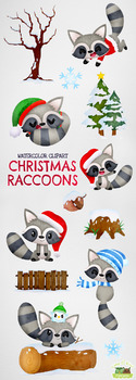 Christmas Raccoons Watercolor Clipart   Instant Download Vector Art