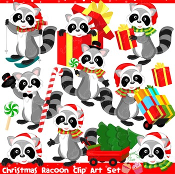 Christmas Racoon Racoons Clipart Set