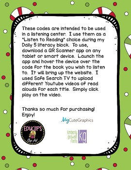 Christmas Read Aloud Books QR Code Listening Center