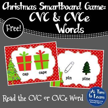 Christmas Read the CVC or CVCe Word for Smartboard/Prometh