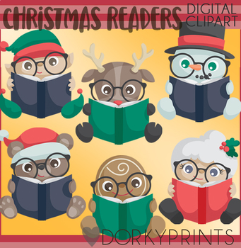 Christmas Readers Clipart