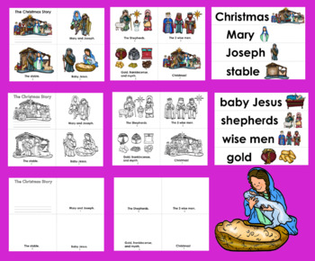 Christmas Mini Books The Christmas Story 3 Levels + Illustrated Word Wall