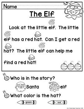 Christmas Activities | Christmas Reading Comprehension for Kindergarten
