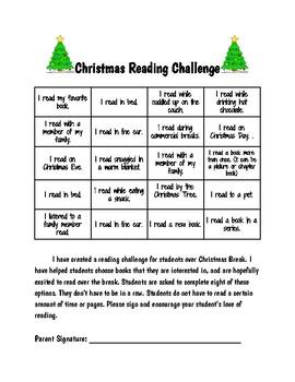 Christmas Reading Challenge Options Board