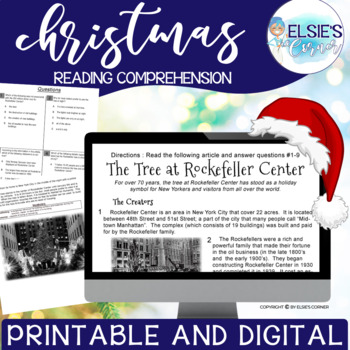 Christmas Reading Comprehension - Informational Text * Questions * Foldable