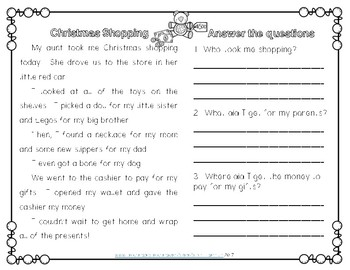 Christmas Reading Comprehension Passages Second Grade