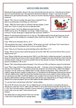 """Christmas Reading Comprehension Text / Story: """"Santa's Time Machine"""""""
