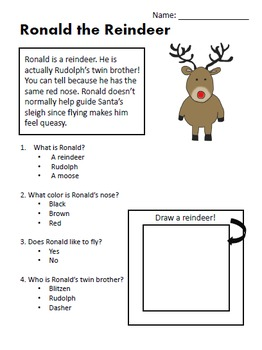 Christmas Reading Comprehension Worksheets
