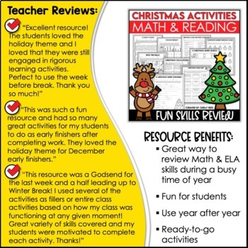 Christmas Reading & Math Packet -Worksheets & Activities