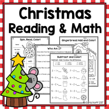 CHRISTMAS READING AND MATH  Worksheets and Games!
