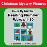 Christmas: Reading Number Words 1-10 - Color By Number - M