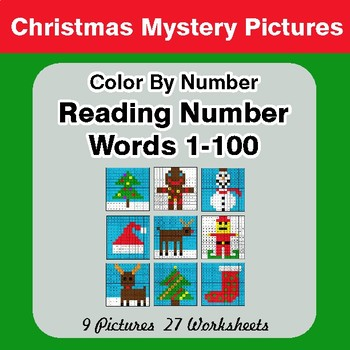 Christmas: Reading Number Words 1-100 - Color By Number - Mystery Pictures