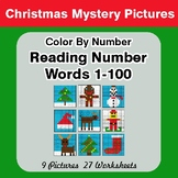 Christmas: Reading Number Words 1-100 - Color By Number -