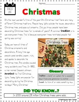 Christmas Reading Passage and Flipbook