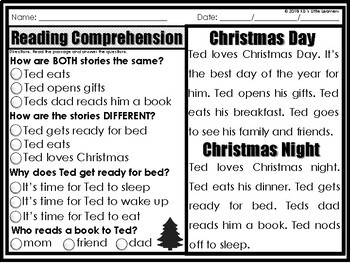 Christmas Reading Comprehension Passages 1st Grade