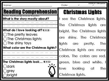 Christmas Reading Comprehension Passages 1st Grade | December